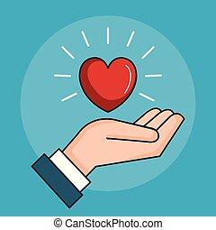 coração, símbolo, paz, amor, mão