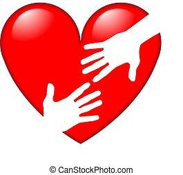 coração, símbolo, vermelho, mãos