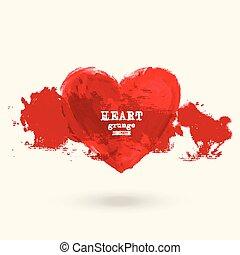 coração, símbolo, vetorial, grunge, desenho