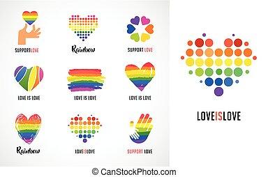coração, símbolos, homossexual, cobrança, logotipos, lgbt, arco íris, mãos, ícones