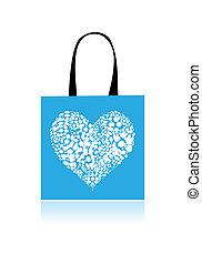 coração, saco shopping, forma, projeto floral