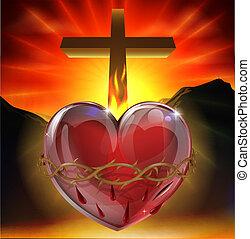coração, sagrado, ilustração