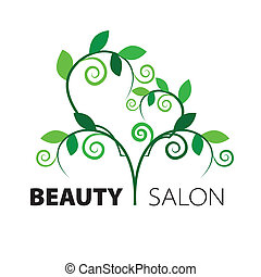 coração, salão, beleza, folhas, árvore, verde, logotipo