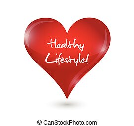 coração saudável, desenho, estilo vida, ilustração
