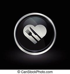 coração saudável, dieta, ícone, dentro, redondo, prata, e, pretas, emblema