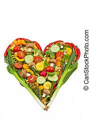 coração saudável, feito, comer, vegetables.