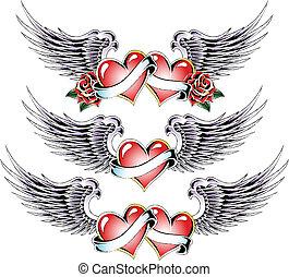 coração, saudação, valentine