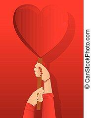 coração, segurando, signs., mãos