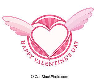 coração, selo, asas, valentine, dia, feliz