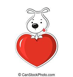 coração, sentando, cachorro vermelho, engraçado