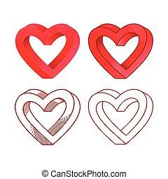 coração, set., ilustração, valentine, vetorial, retro, linha, dia, ícone