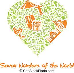 coração, sete, maravilhas, mundo