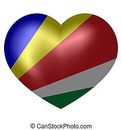 coração, seychelles, illustration., forma., bandeira, vetorial