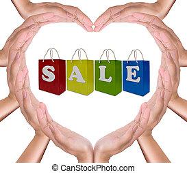 coração, shopping, venda, etiqueta, saco, papel, mãos