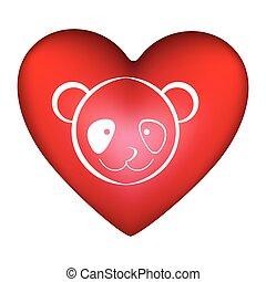 Coração, silueta,  CÙte, rosto, FORMA,  animal,  Panda, vermelho