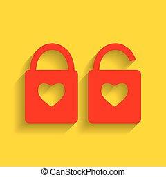 coração, silueta, dourado, simples, fechadura, lock., forma., sinal, experiência., forma, vector., heart., sombra, macio, vermelho, ícone