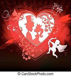 coração, silueta, experiência vermelha