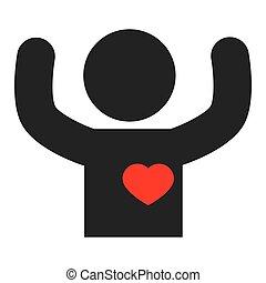 coração, silueta, human