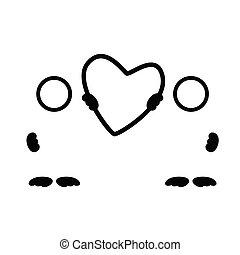 coração, silueta, ilustração, vetorial, pretas, arte