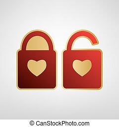 coração, silueta, ouro, cinzento, simples, fechadura, adesivo, lock., forma., sinal, experiência., forma, vector., luz, heart., vermelho, ícone
