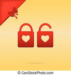 coração, silueta, simples, fechadura, lock., forma., sinal, sha