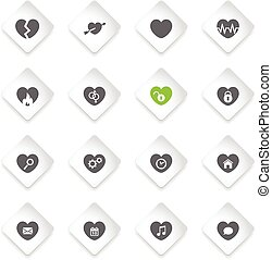 coração, simplesmente, ícones