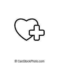 coração, sinal médico, fundo, branca, ícone