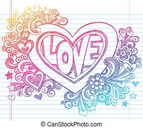 coração, sketchy, vetorial, amor, doodles