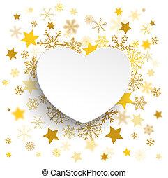 Coração,  Snowflakes, dourado, papel, estrelas, branca, Natal
