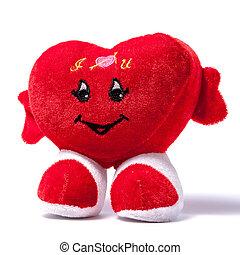coração, sobre, simbólico, isolado, fundo, branca, pelúcia, vermelho