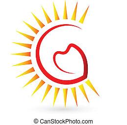 coração, sol, logotipo