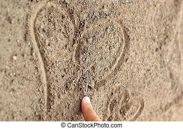 coração, solo, -, forma., textura, dedos, rabiscado, fundo