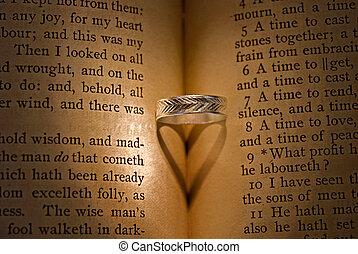 coração, sombra, ligado, bíblia