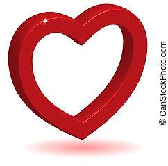 coração, sombra, lustroso, vermelho, 3d