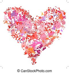 coração, splatter, abstratos, pintura, forma, spatter, ...
