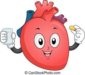 coração, suplemento, mascote