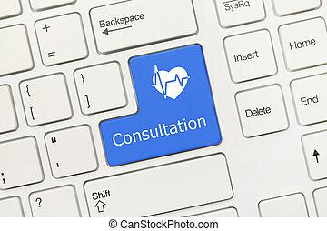 coração, sy, -, consulta, tecla, teclado, conceitual, (blue, branca