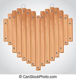coração, tábua, madeira