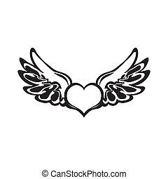 coração, tattoo., vector.
