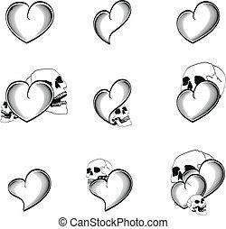 coração, tatuagem, cranio, 4