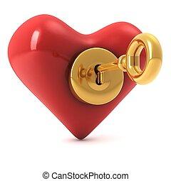coração, tecla, ouro, ler, fechadura, imagem, isolado,...