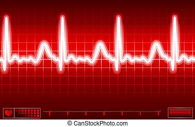 coração, tela, monitor