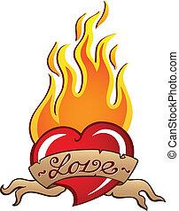 coração, tema, imagem, 3