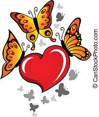 coração, tema, imagem, 6