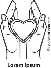 coração, ter, mão