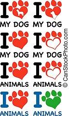 coração, texto, animais, amor, pata