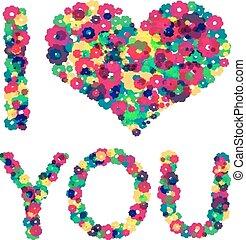 coração, texto, grunge, amor, you.