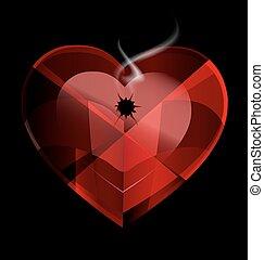 coração, tiro