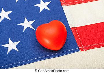 coração, tiro, eua, sobre, -, aquilo, cima, bandeira, estúdio, fim