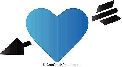 coração, tom, duo, -, ícone seta